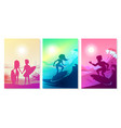 summer surfing at ocean vector image