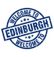 welcome to edinburgh blue stamp vector image vector image