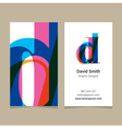 business card letter D vector image