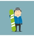 Snowboarder character in ski wear with snowboard vector image