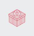 isometric present box outline icon vector image