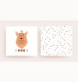 a set of pattern cards with a dog for the shop vector image vector image