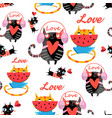 amusing pattern in love cats vector image vector image