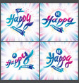 be happy joyful and bright greeting cards set vector image