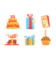 birthday party items food gifts and vector image vector image