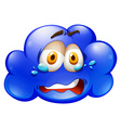 Blue cloud with sad face vector image vector image