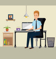 businessman in the office workplace scene vector image vector image