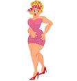 Cartoon woman in pink dress standing with open vector image vector image