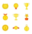 Championship icons set cartoon style vector image vector image