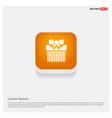 christmas gift box icon orange abstract web button vector image