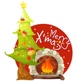 christmas tree and fireplace vector image vector image
