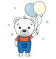 cute bear with balloons vector image vector image