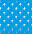 deer pattern seamless blue vector image vector image