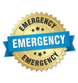 emergency 3d gold badge with blue ribbon vector image vector image