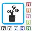 euro tree pot framed icon vector image vector image