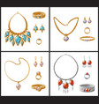 expensive luxurious jewelry inlaid with gemstones vector image