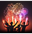 Festive firework black human silhouettes poster vector image vector image