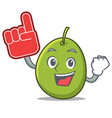 foam finger olive mascot cartoon style vector image vector image