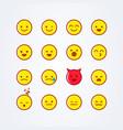 funny cute flat style emoji emoticon icon set vector image vector image