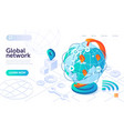 global network technology with big globe on white vector image vector image