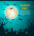 halloween party night moon poster vector image vector image