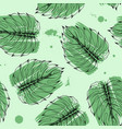 hand drawn monstera leaves seamless pattern vector image vector image
