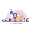 horizontal flat banner online learning chat bot vector image vector image
