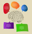 human brain with infographic banner diagram vector image vector image