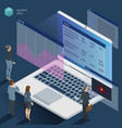 isometric 3d flat design office work vector image vector image