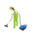 isometric woman with a vacuum cleaners various vector image vector image