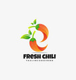 logo fresh chili gradient colorful style vector image