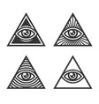 masonic illuminati symbols eye in triangle sign vector image vector image