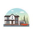 modern cottage with red car isolated on white vector image vector image