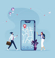 navigation app with map and location pin vector image vector image