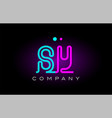 neon lights alphabet sy s y letter logo icon vector image vector image