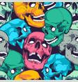 pop art seamless pattern with skulls vector image vector image