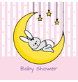 rabbit sleeping on the moon vector image vector image