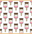 seamless pattern cute kawaii styled ice cream vector image