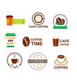 set coffee logo for a coffee shop cup glass vector image vector image