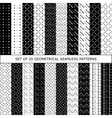 Set of 20 geometrical seamless patterns vector image vector image