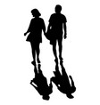 silhouette man and woman holding hand walking vector image vector image