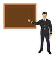 soldier standing in front of blackboard vector image vector image