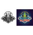 space invaders emblem badge label vector image vector image