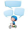 speech bubble template with boy riding bike vector image vector image
