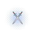 Swords crossed comics icon vector image vector image