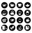 tea icons set in black and white vector image vector image