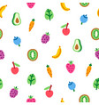 veggies and fruits cartoon pattern vector image