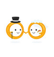 wedding happy smiling rings bride and groom vector image