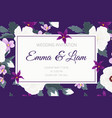 wedding invitation ropical purple violet flowers vector image vector image