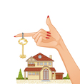 Woman hand with house key and cottage vector image vector image